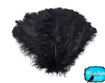 "Wedding Centerpiece Feathers, 1/2 Lb - 25-29"" Black Large Ostrich Wing Plumes Wholesale Feathers (Bulk) Swa : 4217-D"