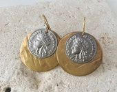 Vintage | Hammered Brass Earrings | Brass & Silver Coin Earrings | E110027