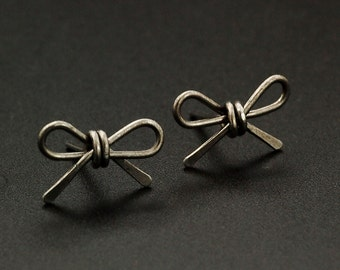 1 Pair Handmade Bow Post Earrings - Niobium, Titanium, Sterling Silver, Gold Filled, Stainless, ...