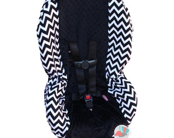 Toddler Car Seat Cover Black Chevron