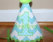 boys first birthday hat, smash cake outfit, 1st birthday party hat, aqua blue and lime green, birthday hat,  personalized birthday hat