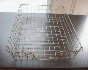 Genuine Antique Wire Mesh File Basket. Letters, Mail, in and out bin, Office Sorter, Tray.