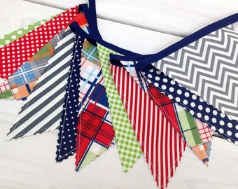 Bunting Banner,Photography Prop,Fabric Flags,Boy Nursery Decor,Home Decor,Red,Green,Navy Blue,Gray,Grey,Chevron,Nautical,Madras Plaid