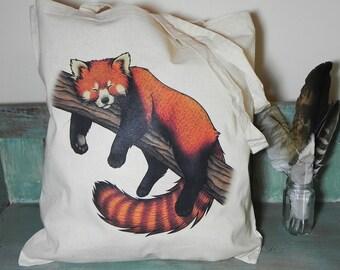 Red Panda Illustration Eco Tote Bag ~ 100% Cotton Long Handles