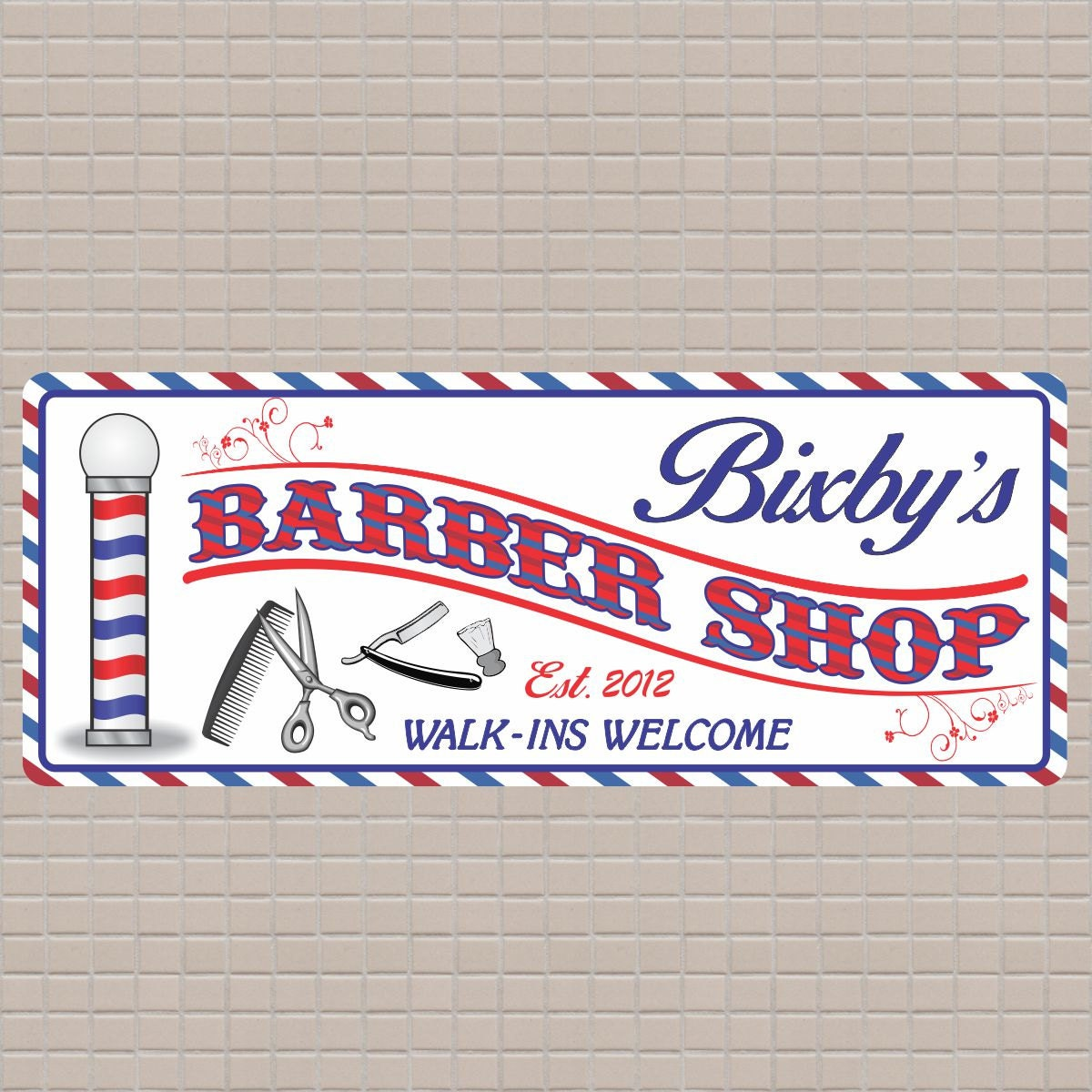 Antique barber shop sign - Personalized Red White Blue Barber Shop Sign With Established Date Barber Pole And