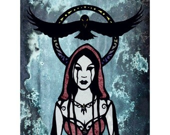 Gothic ART PRINT Raven Goddess Cut Paper Art Silhouette Collage
