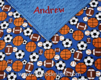 Personalized Minky Blanket - Sports Minky with Cobaltt Blue Minky - Boy Baby Blanket