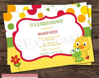 Duck and Frog Baby Shower invitation