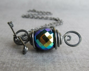 Czech Glass Black Necklace, Black Aurora Borealis Necklace, Convertible Necklace, Necklace Black, Oxidized Sterling Silver Necklace Handmade