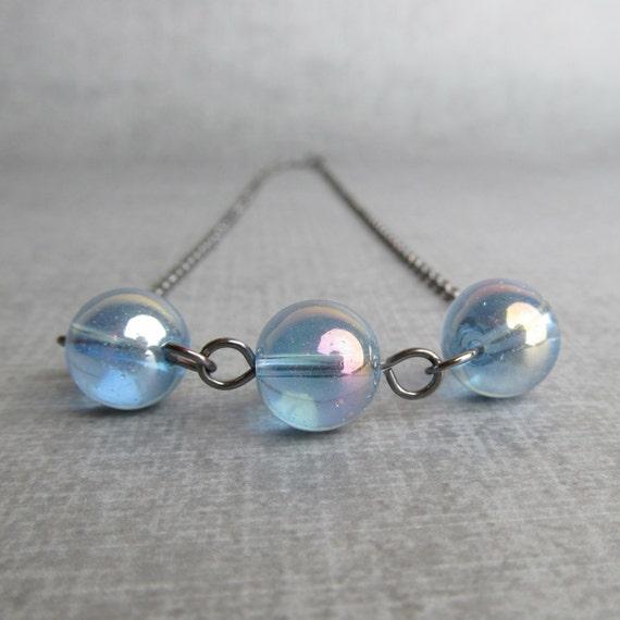 Light Blue Necklace, Blue Bubble Necklace, Pastel Blue Necklace, Handmade Oxidized Necklace