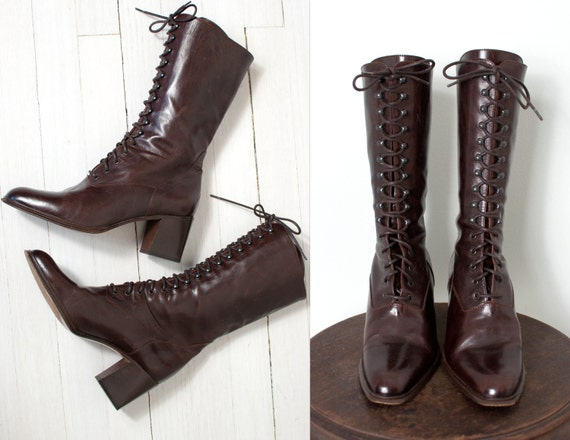 vintage joan david boots lace up brown leather 80s boots