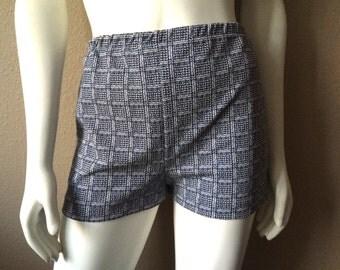 Vintage Women's 60's Go Go Shorts, Polyester, Navy Blue, White, Mod (S/M)