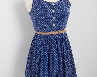 1970s Navy Blue Dirndl Dress - XS