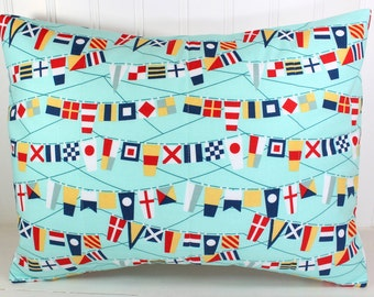 Throw Pillow Cover, Nursery Pillow Cover, Nautical Pillow, Red, Navy Blue, Gray, Yellow, Aqua Blue, 12 x 16 Inches, Nautical Bunting Flags