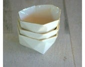 Small geometric faceted polyhedron white bowl with gold rim ring bowl mothers day gift ready to ship
