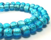Vintage Beads -  Distressed Silver Foil Turquoise Color Beads (10mm)