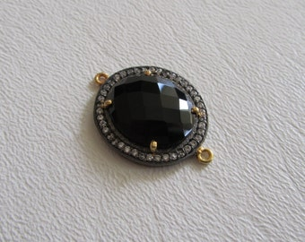 Faceted Black Onyx Cubic Zirconia Siver and Gold Connector Link 1 Piece
