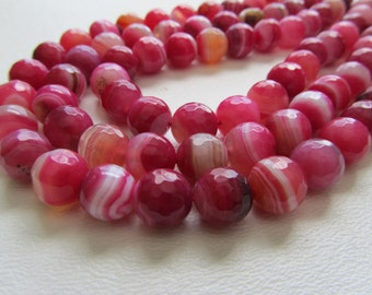 Hot Pink Banded Agate Disco Ball Faceted Rounds Half Strand