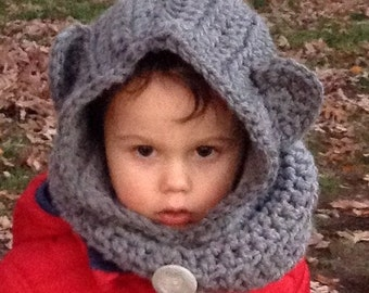 Baylie Bear Hooded Cowl Fits Infant to Adult