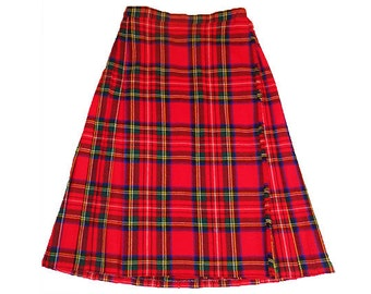"Vintage Plaid Skirt Red Tartan Pleated  Wool Kilt Royal Stewart Full Length Size  Extra Small  small 26"" Waist"