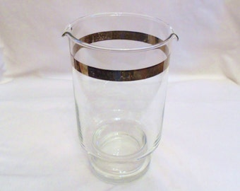 Vintage  Hollywood Regency Martini  Cocktail  Pitcher with Silver Rim  Mid Century Modern Mad Men