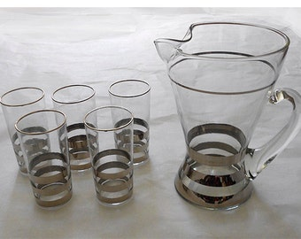 Vintage  Set  5 Silver Rimmed  Highball Glasses with Cocktail Pitcher  Hollywood Regency Mid Century Modern  Mad Men Chic