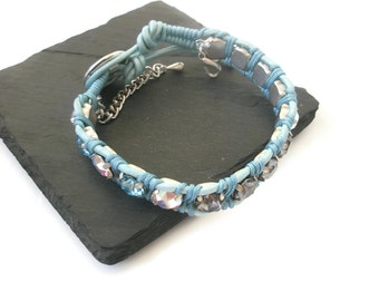 Swarovski crystal Bracelet cup-chain Nappa leather Turquoise Silver chain Fashion Bracelet made in the UK