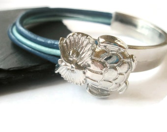 Owl Bracelets Metal and Leather Navy and Baby Blue stackable Fashion jewellery