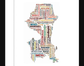 Seattle Map Typography Color Map Poster Print