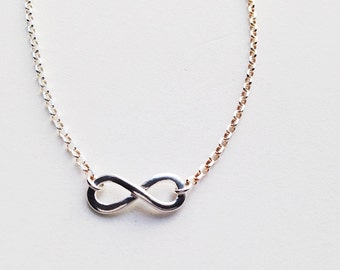 Sterling Silver Infinity Charm Necklace  - Bridesmaids, Bridal, Weddings, Gifts, Thank You