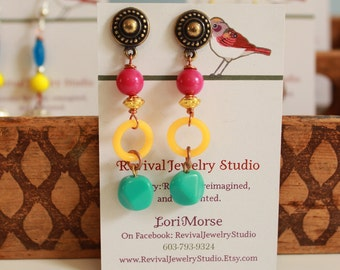 Bright Spring Earrings - Pink, Orange, and Turquoise