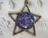 You're A Shining Star-Dandelion Seeds Atop Royal Purple-Bronze Star Pendant-Earth, Wind & Fire Inspired-Gifs Under 30-Symbolizes Happiness