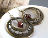 Brass Hoop Earrings, Burgundy Dangle Earrings, Vintage Inspired Modern Jewelry - NOUVEAU