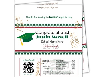 10 - Graduation Candy Wrappers/Hershey Candy Bar Wrappers/Grad Party Wrappers/Chocolate Bar Wrappers