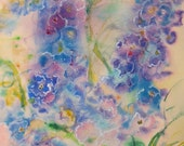 RESERVED for Caitlin, original watercolor art, abstract floral art, delphinium art, flower painting, garden art, wall decor, wildflower art