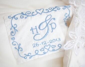Personalised Wedding Dress Label - Something Blue Idea - Sentimental Bride Gift - Monogram Wedding Dress Label - Embroidered Dress Label
