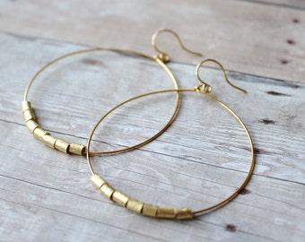 Hoop Earrings, Gold Plated Hoops with Brushed Gold, Gold Hoop Earrings, Hoops, French Hook