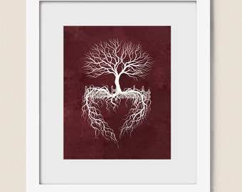 8 x 10 Print, Winter Tree Roots Wall Art, Burgandy Home Decor, Heart Art, Tree Branches Art Print (21)