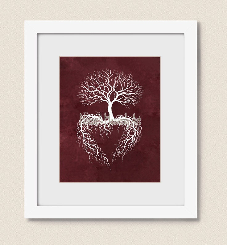 Tree Root Wall Decor : Print winter tree roots wall art burgandy home decor