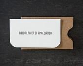 "mini: official token. letterpress card. #732 - 3.5 x 2"""