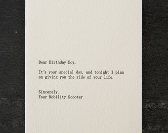 dear birthday boy. letterpress card. #270