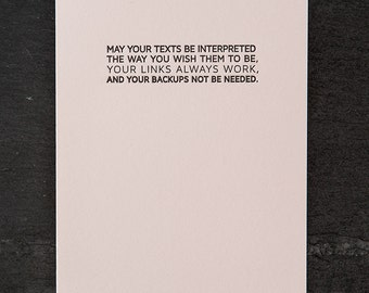 tech: small blessing. letterpress card. #627