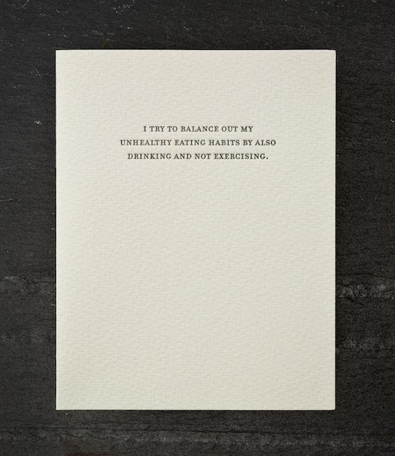 balanced diet. letterpress card. #790
