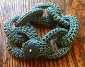 Gorgeous shade of blue crocheted chain link bracelet.