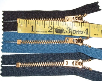 4 Inch  Zippers for Jeans  Heavy Duty in Assorted Colors  Set of 3 Replacement Zippers
