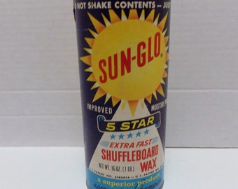 Shuffleboard Wax, Sun-Glo, 1 lb Container, 1960s 1970s, Sun Glo Wax, Powdered Wax, Game Room, Extra Fast Wax, Sports Memorabilia,