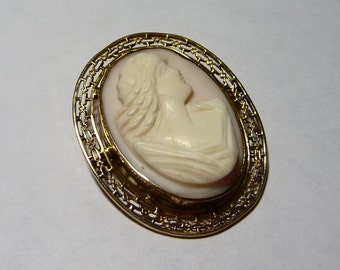 Victorian Hand Carved Shell Cameo 10K Gold Brooch Pin on Etsy