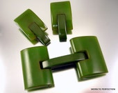 ON HOLD Vintage Spinach Bakelite Buckle and Dress Clips 1930s