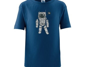 Cute Short Sleeve Cotton Fun Toddler Kids Tee T-Shirt With Cool Space Man Spaceman Outer Space Astronaut Print Great Gift Idea