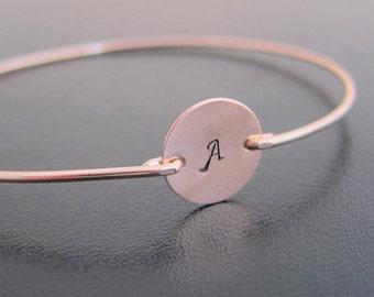 Rose Gold Bracelet Personalized, Rose Gold Initial Bracelet, Rose Gold Monogram Bracelet, Rose Gold Bangle Bracelet